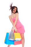 Woman with colorful shopping bags Royalty Free Stock Photos