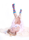Woman in colorful strip socks Stock Images