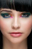 Woman with colorful stylish make-up Stock Photo