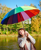 Woman With Colorful Umbrella Royalty Free Stock Photography