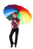 Woman with colorful umbrella Stock Photo