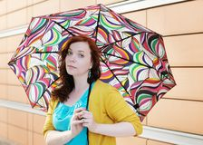 Woman with colorful umbrella Royalty Free Stock Images