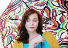 Woman with colorful umbrella Stock Photos