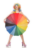 Woman with colorful umbrella on white Stock Images