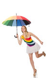 The woman with colorful umbrella on white Royalty Free Stock Photo