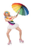 The woman with colorful umbrella on white Stock Photo