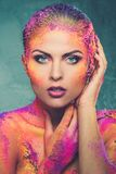 Woman with colourful body art Royalty Free Stock Image