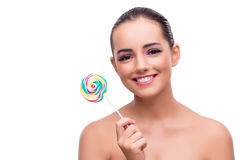 The woman with colourful lollipop isolated on white Stock Photo