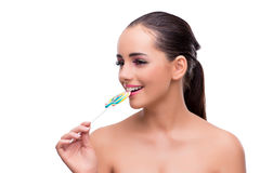 The woman with colourful lollipop isolated on white Stock Images