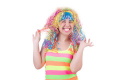 Woman with colourful wig isolated Stock Photos