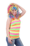 Woman with colourful wig isolated Royalty Free Stock Photography