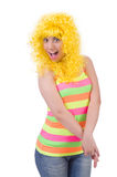 Woman with colourful wig isolated Stock Image