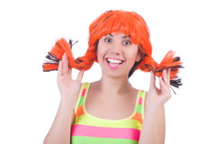 Woman with colourful wig isolated Stock Photo