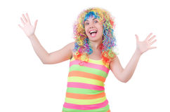 Woman with colourful wig isolated Royalty Free Stock Photos