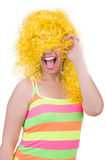 Woman with colourful wig isolated Stock Images