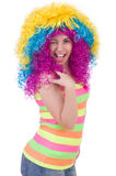 Woman with colourful wig isolated Stock Photography