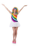Woman with colourful wig isolated Royalty Free Stock Images