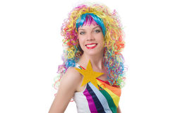 Woman with colourful wig isolated Royalty Free Stock Photo
