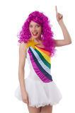 Woman with colourful wig isolated Royalty Free Stock Image