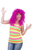 Woman with colourful wig Royalty Free Stock Photo