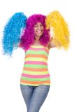 Woman with colourful wig Stock Image