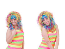The woman with colourful wig isolated on white Royalty Free Stock Image