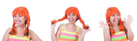 The woman with colourful wig isolated on white. Woman with colourful wig isolated on white Stock Photos