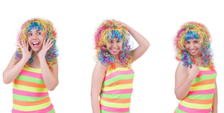 The woman with colourful wig isolated on white Royalty Free Stock Photography