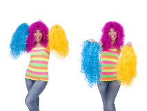 The woman with colourful wig isolated on white Stock Image