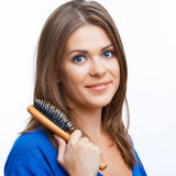 Woman comb long hair Royalty Free Stock Photo