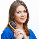 Woman comb long hair Stock Images