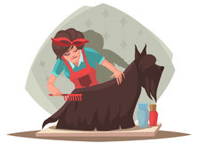 Woman combing dog Stock Photo