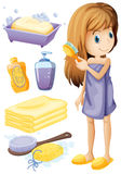 Woman combing hair and bathroom set Stock Image
