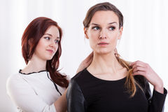 Woman combing hairs her friend Stock Images