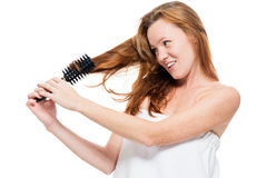 Woman combing tangled red hair after shower on white Stock Image