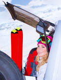 Woman comes on ski resort Royalty Free Stock Photography