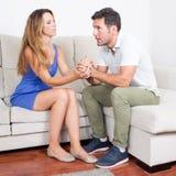 Woman comforts man Royalty Free Stock Photo