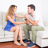 Woman comforts man after fight Royalty Free Stock Photography