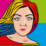 Woman comics. Over colorful background vector illustration Royalty Free Stock Image