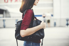 Woman Commuter City Life Traveling Downtown Walking Concept Stock Photo
