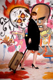 Woman commuter graffiti wall Stock Photography