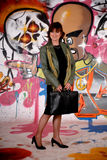 Woman commuter, urban graffiti Stock Photos