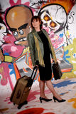 Woman commuter, urban graffiti Stock Images