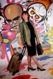 Woman commuter, urban graffiti stock images