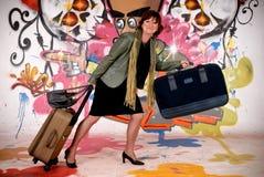 Woman commuter, urban graffiti royalty free stock images