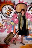 Woman commuter, urban graffiti Royalty Free Stock Photography
