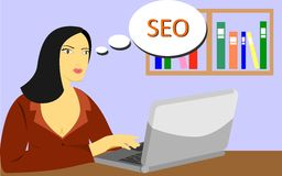 Woman with  comp thinks seo Royalty Free Stock Photos