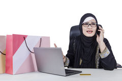 Woman complaining after shopping online Royalty Free Stock Photos