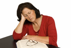 Woman Completely Exhausted From Stress. Horizontal shot of woman completely exhausted from stress Royalty Free Stock Image