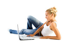 Woman at computer Stock Images